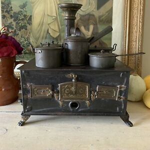 Vintage Minature Tinplate Stove With Cooking Pots & Lids - Antique German Piece