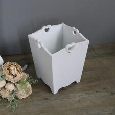 Heart Detail White Wooden Waste Paper Bin small planter office living room
