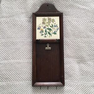VINTAGE Three Mountaineers Inc Asheville NC Floral Tile Wall Organizer Clip Hook