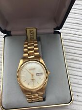 Citizen Automatic Gents Watch. Date Display. Gold Strap. Soft Gold Face. Boxed.