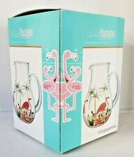 Fabulous Flamingo Collection Hand Painted Glass Pitcher New Dead Stock In Box