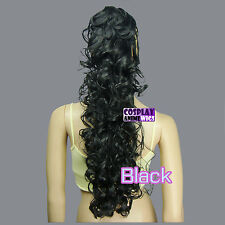 Black 60cm Heat Resistant Cosplay Curly Clip-On Ponytails 2_001