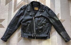 PROTECH Leather Motorcycle Jacket Mens 80s XL Black Leather Belted Biker Jacket