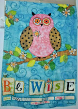 "New Meadow Creek Mini Garden Flag ""Be Wise"" Floral Owl 12"" x 18"" 2-Sided"