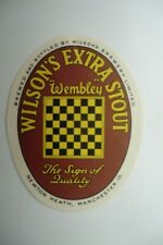 MINT WILSONS NEWTON HEATH MANCHESTER EXTRA STOUT BREWERY BEER BOTTLE LABEL