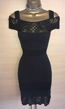 Exquisite Karen Millen Black Crochet Lace Cold Shoulder Dress Uk10