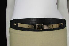 Women Gold Metal Plate Hip Waist Black Elastic Faux Leather Fashion Belt Fun S M