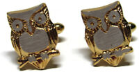 """Vintage Mens Cufflinks Gold and Silver Tone Owls Jewelry  3/4"""" x 1/2"""""""