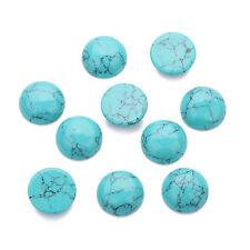 10Pcs/lot Genuine Gemstone 4-14mm Round Flat Back Cabochon Beads Blue Turquoise