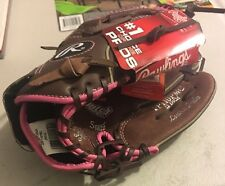 Rawlings Fastpitch Sofball Glove RH SZ11 FP110PMC Brown Pink