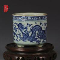 Antique blue & white dragon & phoenix Pen container Brush Pots Incense Burners