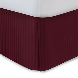 Sateen Stripe Tailored Bed Skirt with Split Corners and Platform - Free Shipping