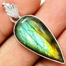 Spectrolite Labradorite From Finland 925 Silver Pendant  Jewelry PP35580
