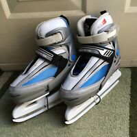 Lake Placid Ice Skates.Youth Size 2-4 Adjustable.  White Blue Silver