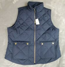 J. CREW Men's Navy Blue Quilted Sussex Full Zip Vest Size - XL NWT NEW