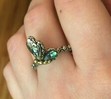 Barbara Bixby Sterling Silver 18K Gold Abalone Butterfly Ring Size 7