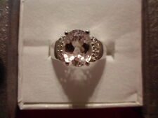 Kunzite Ring w/White Topaz Accents in 925 Sterling Silver-Size 7-3.57 Carats