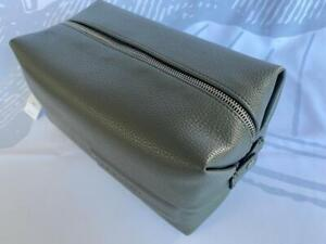 Calvin Klein Mens Saddle Green Faux Leather cosmetic bag dopp Kitt