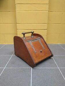 Antique Wooden and Brass Coal Scuttle Bin Box Liner ~ Antique brass Coal Scuttle