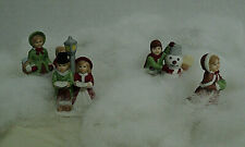Homco Porcelain Bisque Miniature Figurines 5310 Winter Christmas (4) Auct#3005
