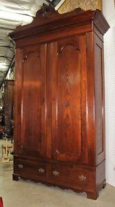Antique American Mitchell & Rammelsberg Quarter Sawn Oak Wardrobe Armoire C1850