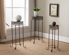 3-Piece Kings Brand Furniture Brushed Copper Metal Side End Table Plant Stand