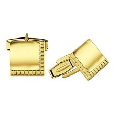 Real Gold Sterling Silver .925 Solid Polished Engravable Cufflinks w/ Gift Box