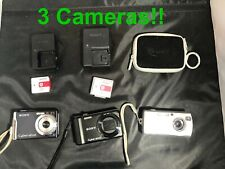 3 Old School Sony CyberShot Digital Cameras GO RETRO nice and small, good pics