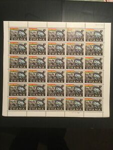 Ghana 1967 Sg 384As Issued Complete Sheet Of Stamps. Diamond Plate 1C Cat £125