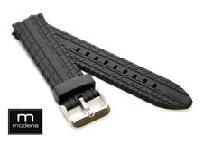 Watch Band / Strap With Tang Buckle 22mm Speed Tire Tread Pattern Black Modena