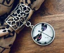 STUNNING SCARF RING, SLIDER with GLASS CABOCHON pendant, DRAGONFLY, GIFT BAG
