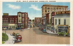 Vintage Postcard Main St Looking East Johnson City TN Scene View