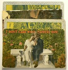1910 Postcards 2 Lovers Kissing on a Park Bench Lot of 4 #7001