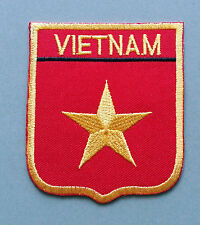 NATIONAL FLAG COUNTRY SHIELD SEW ON / IRON ON EMBROIDERED PATCH:- VIETNAM