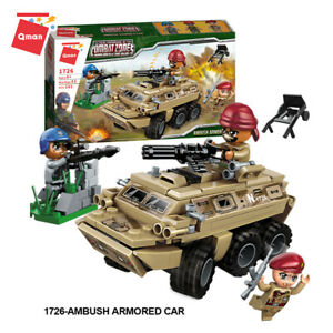 Qman educational army building blocks soldier figures toy armored car toys kid