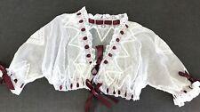 GORGEOUS ANTIQUE LACE BLOUSE / DRESSING SACQUE, FRILLS, WHITE COTTON