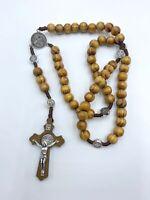 Rosario madera jesucristo y san Benito nuevo religión amuleto suerte proteccion