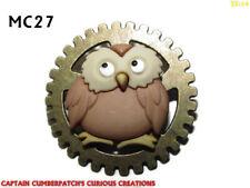 steampunk pin badge brooch owl bird of prey on bronze gearwheel cog #MC27