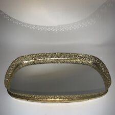 Vintage Gold Perfume Jewelry Trinket Tray Ornate Brass Mirror 14X8 Vanity