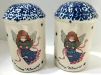 Country Blessings Ceramic Salt and Pepper Shakers Angels Blue Sponge Painted