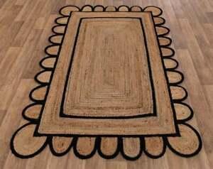 black double border jute scallop handmade boho rug home decor scalloped jute rug