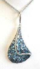 Blue topaz 4.81tcw Diamond .20tcw cluster bell shape 14k white gold Necklace NWT