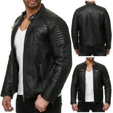 Manteaux et vestes motards noirs en cuir pour homme