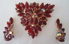 Juliana Vintage Red Rhinestone Brooch and Earrings