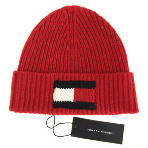 TOMMY HILFIGER Red Knit Big Flag Beanie Bobble Hat Mens One Size