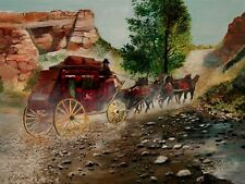 ANDRE DLUHOS Historic Western Stagecoach Horses Old West ORIGINAL Oil Painting -