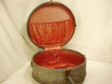Vtg American Tourister Round Hatbox Suitcase Gray Tweed Antique Quick Ship