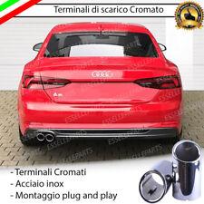 COPPIA TERMINALE SCARICO CROMATO LUCIDO ACCAIO INOX AUDI A5 F53 TONDI