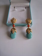 Stunningly Beautiful Vintage FV Gold /Turquoise Coloured Clip On Earrings