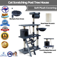 Cat Scratching Post Tree House Tower with Ladder Furniture Large 141cm Grey New